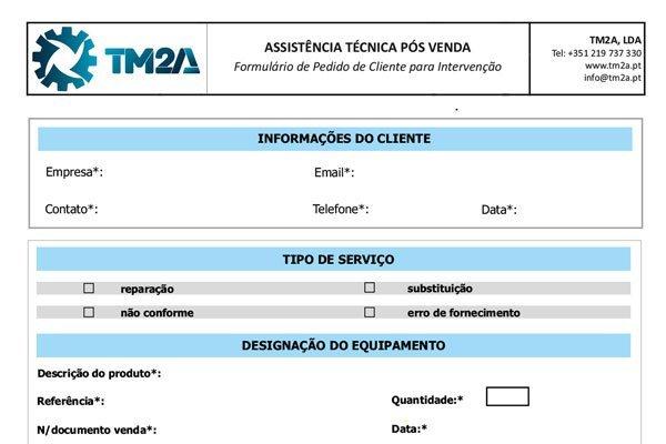 TM2A - Formulário de assistência pós venda