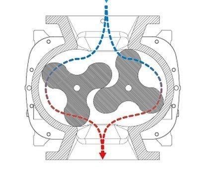 Funcionamento - Bombas de Lóbulos (tipo roots)